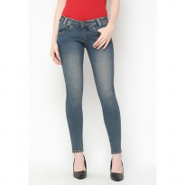 Mobile Power Ladies Angel Cut Long Pants Basic Jeans - Blue C2675S
