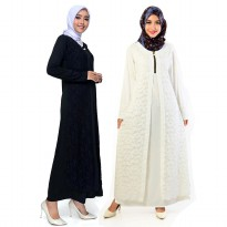 Long dress Gamis maxi Brukat Variasi Seleting - Jfashion Natasha