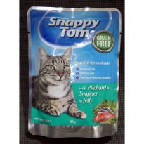 Makanan Kucing Snappy Tom Pilchard & Snapper In Jelly 12 pcs x  85g