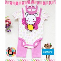 SECAB1G - Set Carter Baby Tee + Pants + Bib white pink ladybug