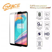 Grace One Plus 5T - 2.5D Full Screen Tempered Glass - Lis Hitam