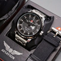 Jam tangan pria Swiss-Army-Aviation-ABW116767 - Stainless/Canvas (Silver Black)