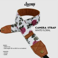 Camera Strap White Floral Tali Kamera Journey