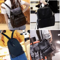 New Edition Fashion Backpack Korean Style Tas Ransel Wanita Import Kulit Sintetis Hitam