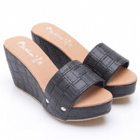 Dr.Kevin Leather Wedges Sandals 27319 Black