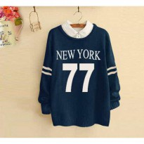 Grosir! Sweater Wanita Babyterry Navy [Shirt Ny 77 Ft]