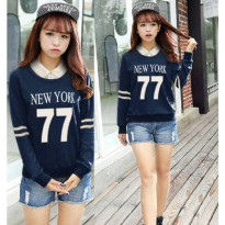 Grosir! Sweater Wanita Babyterry Navy [Sw Hem Number Ft]