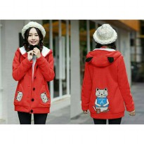 Jaket Hoodie CAT MEOW A Red
