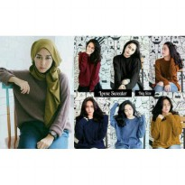 Grosir! Sweater Wanita Rajut Var Color [Sweater Loose Boxi Ro]