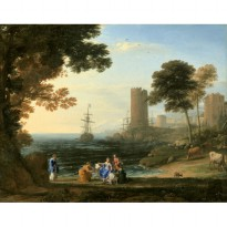Lukisan Coast View with the Abduction of Europa Karya Claude Lorrain - 1645 - Jiekley Fine Art