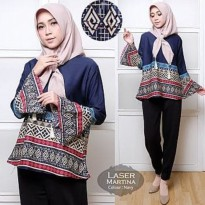 Grosir! Blouse Wanita Muslim Balotelly Navy [Blouse Laser Martina Navy Tl]