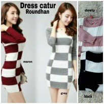 Grosir! Dress Wanita Rajut Strecth Var Color [Dress Catur Rh Ro]