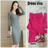 Grosir! Dress Wanita Rajut Stret Fanta [Dress Viva Fanta Ro]