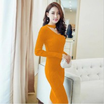 Grosir! Dress Wanita Rajut Stretch Kuning [Dress Viva Mutiara Yellow Ro]