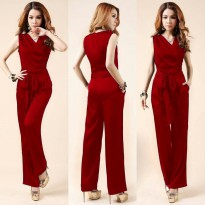 Grosir! Jumpsuit Wanita Twiscont Merah [Js Fila Red Ro]