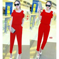 Grosir! Jumpsuit Wanita Twiscont Merah [Jseliza Red Ro]