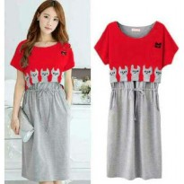 Grosir! Dress Wanita Spandex Merah [Dress Cat Sl]