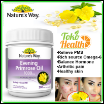 Natures Way Evening Primrose Oil 1000mg Isi 200 Atasi Gejala PMS