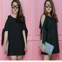 Grosir! Dress Wanita Wolly Crepe Hitam [Dress Martha Hitam Sw]