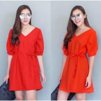 Grosir! Dress Wanita Wolly Crepe Merah [Dress Liliana Merah Sw]