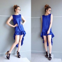 Grosir! Dress Wanita Rayon Bangkok Biru [Dress Dewi Biru Sw]