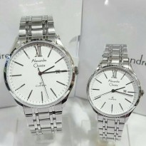 Jam Tangan Couple Alexandre Christie 8504 Silver White Original
