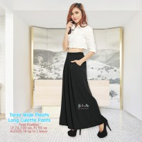 Tania Wide Pleats Long Culotte Pants - BLACK
