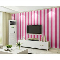 Wallpaper Sticker 10m Motif Garis Garis Pink