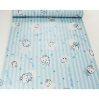 Wallpaper Sticker Hello Kitty Garis Garis Biru