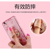Soft Case Flower Swarovski Diamond iRing Oppo F3 / A77 Casing Cover