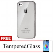 Case for Apple iPhone 5C - Abu-abu + Gratis Tempered Glass - Ultra Thin Soft Case
