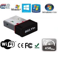 USB WiFi Nano Adapter Dongle Mini Wireless 450Mbps 802.11N