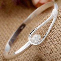 Gelang sterling Silver Flower Bangle