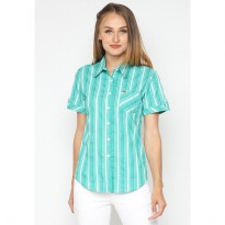 Mobile Power Ladies Basic Short Sleeve Striped Shirt - Green K8396C