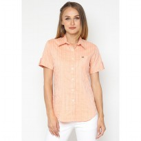 Mobile Power Ladies Basic Short Sleeve Striped Shirt - Orange K8396E