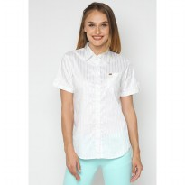 Mobile Power Ladies Basic Short Sleeve Striped Shirt - White & Silver K8396O