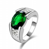 Cincin Unisex Aquamarine, Emerald, Sapphire & Garnet White Gold 18K Filled