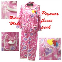 Piyama fleece tebal pink