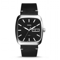 Fossil Rutherford Three-Hand Day-Date Black Leather Watch, FS 5330