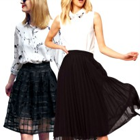 NEW! Branded Women Pleated and Chiffon Skirt_2 Models_Casual Skirt_Best Seller_Good Quality