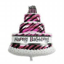 Balon Foil Cake Loreng Mini Happy Birthday