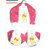 (BEST QUALITY)/BABY TOPI SET/1PCS TOPI+2 PCS SARUNG KAKI/THE POOH/RED