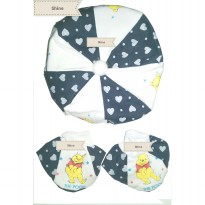 (BEST QUALITY)/BABY TOPI SET/THE POOH/HITAM/1PCS TOPI+2 PCS SARUNG KAKI
