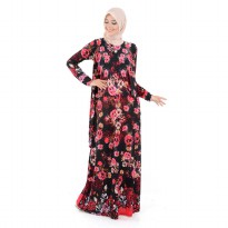 Jfashion Long Dress Gamis Maxi tangan panjang Corak bunga - Nabilah