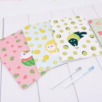 Fruit Kitty Ruled Notebook B5 Buku Tulis Catatan 72 Halaman Kertas Putih Bergaris Sampul Lucu Murah
