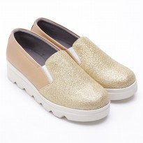 Dr.Kevin Canvas Flat Shoes Ladies 43156 Gold