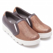 Dr.Kevin Canvas Flat Shoes Ladies 43152 Brown