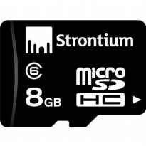Strontium Basic MicroSDHC Class 6 8GB with Adapter - SR8GTFC6A - Black