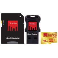 Strontium Nitro Plus 4K MicroSDHC UHS-1 U3 16GB with Adapter and Card Reader - SRP16GTFU1C - Golden