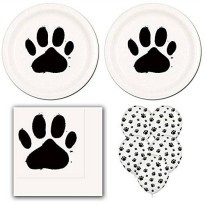 [poledit] Dr Dry 02lp Dog Paw Prints Birthday Party Pack Supplies for 16 guests - dinner p/12105700